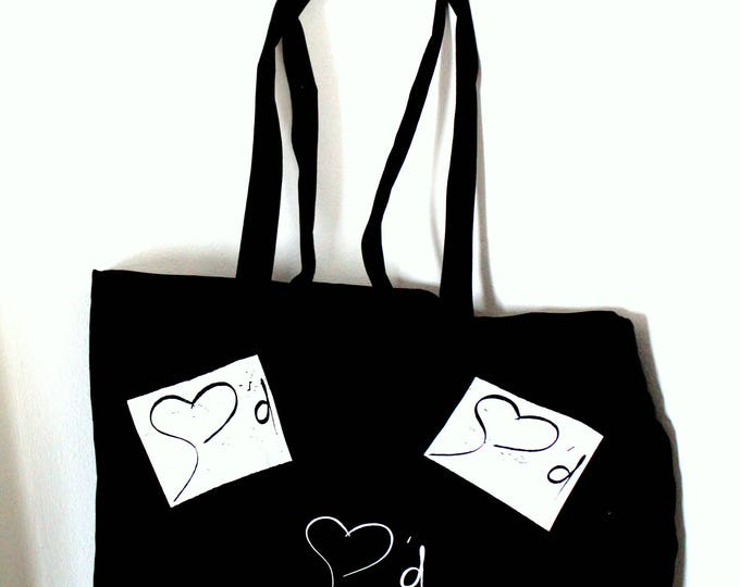 Gian Marco Amato - Large Tote black bag. 100% cotton. Graffiti vintage scratched.