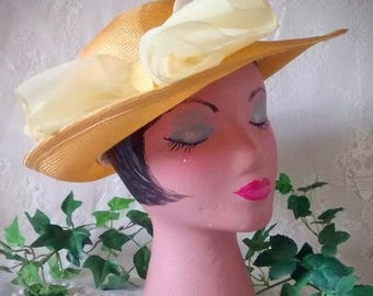 ON SALE Vintage Natural Straw Hat with Chiffon Bow by Betmar