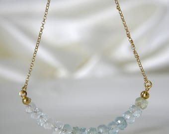 Gemstone necklace with aquamarine or amethyst Briolett of your choice gilded 925