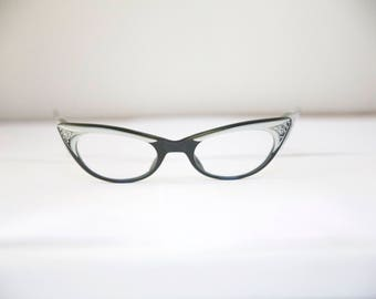 Catseye 1950s Eyeglasses / Wow Pair Ohh LaLa