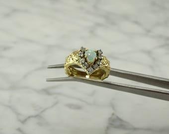 14K Yellow Gold  / Opal / Diamond Ring (size 6.75)