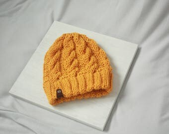 Mustard Yellow Cable Knit Beanie Hat Handmade