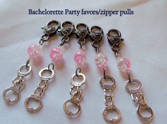 Pink naughty Favors - Handcuff charms - Bachelorette treats - Team Bride - Girl night out - valentines day - Bondage -Zipper pull - Keepsake