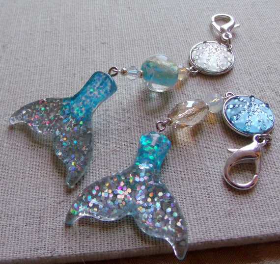 Ocean themed zipper pulls - Little Mermaid tail charm - glitter  - Aquarium - aqua beads - fantasy - fish - turtle  -  Easter gift for girls