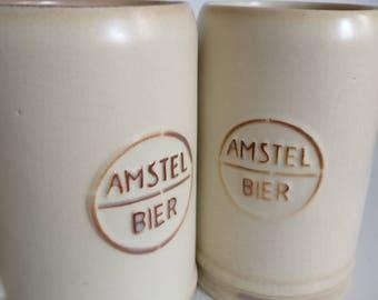 Amstel Beer Mugs, Dutch Beer Mug Ceramic, Original Amstel Bier, Gift for Him Husband
