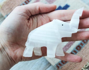 Vintage Onyx Elephant Stone Carving   #2