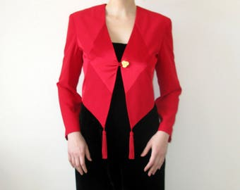 Joseph Ribkoff Red Color Cropped Blazer JAcket With Tassels