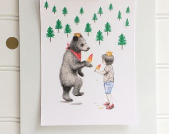 Little Kings, Postcard Print, 4 x 6 Inches, Boy and Bear