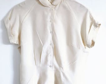 Beautiful Vintage Pure Silk Blouse with Peter Pan Collar