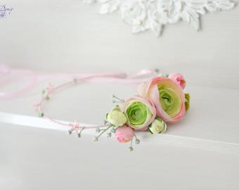 Flower crown Pink Wedding headband Ranunculus hair piece Bridal Blush Pink halo wedding Head wreath bride crown Boho