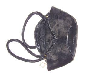 Vintage Black Velvet Handbag