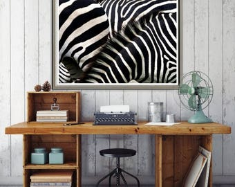 Large Wall Art Beautiful Black and White Stripes of Zebras Canvas Print