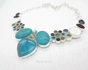 Turquoise Blue Lace Agate Shiva Shell Blue Topaz Garnet Sterling Silver Necklace