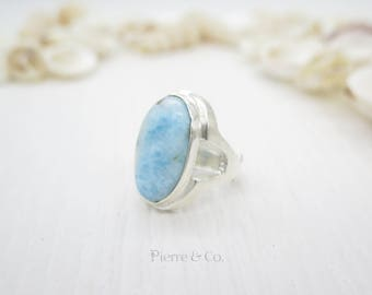 Oval Shape Larimar Sterling Silver Ring (Size 7)