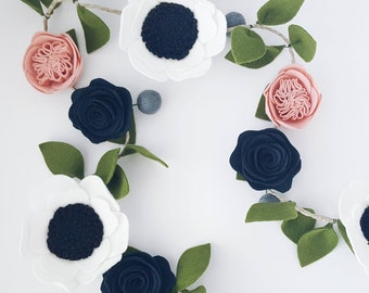 Felt Flower Garland - Floral Garland - Nursery Decoration - Baby Girl Nursery - Baby Shower - Newborn Baby - First Birthday Decor