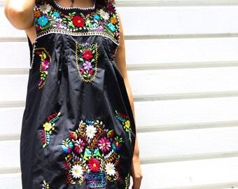 Traditional Mexican Dress, Black Mexican Dress, Frida Kahlo Dress, Oaxacan Dress, Mexican Dresses, Cinco de Mayo Dress, Mexican Dress Women