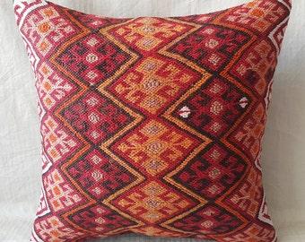 "Kilim Pillow, 18""18"" İnches Tribal Pillow,Decorative Pillow, Cushion Cover, Anatolian Pillow, Turkish Kilim Pillow, Kilim Cushion, Throw"