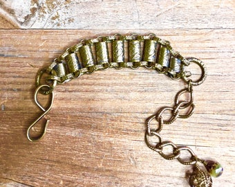 Vintage Victorian Era Etched Gilt Brass Chain Link Bracelet with Brass Ball & Czech Bead Charms
