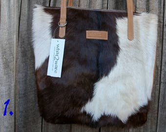 3/4 Hide Tote Brown and White