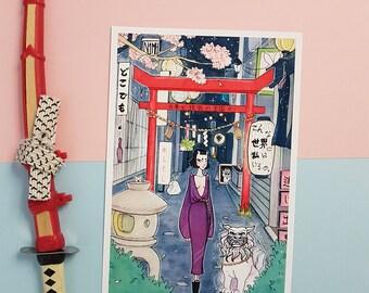 Dokodemo | Art print | wall art, japan, surreal illustration, copic art, japan art, manga drawing, copic illustration, japanese art, pop art