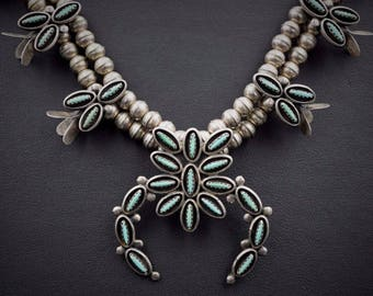 """Signed Zuni Petit Point Sterling Silver Squash Blossom Necklace 22"""" NS919"""