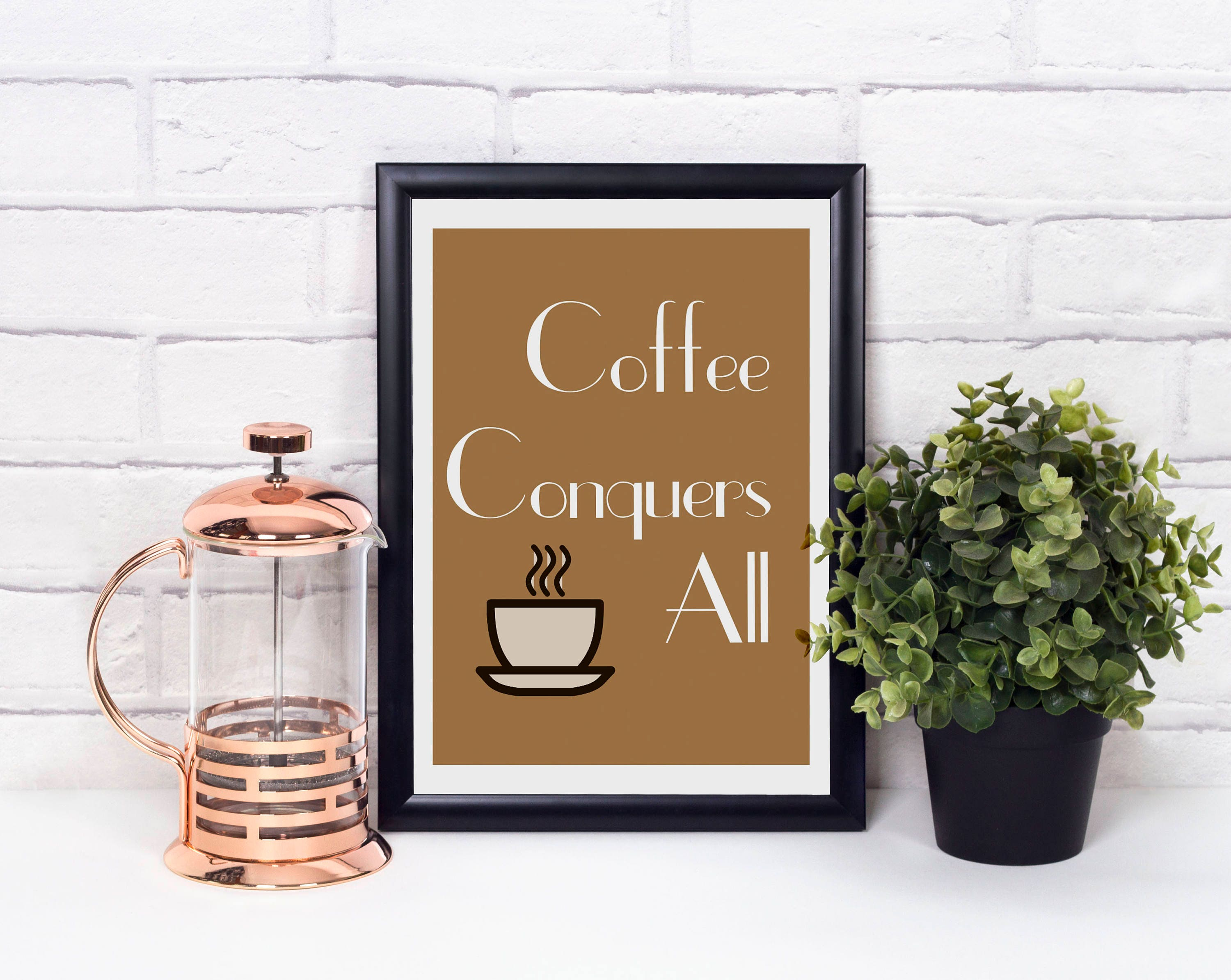 Coffee conquers all coffee print coffee lovers gift kitchen Gifts for kitchen lovers