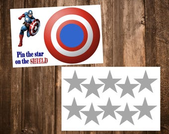 Captain America Pin the Star on the Shield Game -- Superhero Birthday Party Games -- Digital PDF File Download
