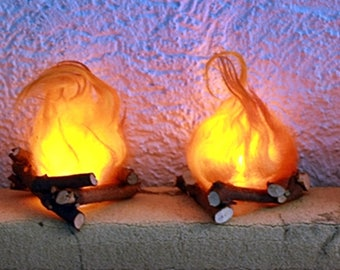 Deco campfire with LED light-flickering hand work!