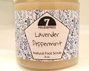 Natural Lavender Peppermint Foot Scrub, Foot Polish, 4 or 8 oz - Essential Oil Scrub, Salt Scrub