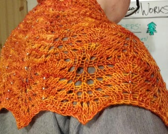 Flame Flowers Shawl - Ready To Ship