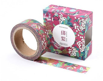 pink dye floral/ Washi Tape, Masking Tape, Planner Stickers