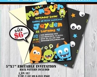 Self-Editing Monster Birthday Invitation-Monster Party Invite-Printable Monster Invite-First Birthday Monster Bash-Any Age Monster Party