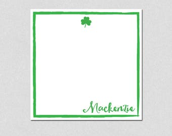 Sharmrock personalized note pad, St. Patrick's Day, Personalized Note Pad, Square Memo Pad, Custom Notepads, Personalized Gifts, Stationery