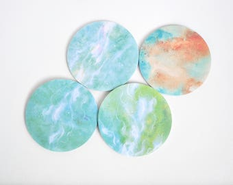 Green Marbled Galaxy Sticky Notes, Sticky Note Tabs, Post It - PJ257