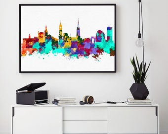 Leicester City Print, Leicester Skyline, Leicester Wall Art Decor, Birthday Gift, Leicester Home Decor, Giclee Print, Bedroom Wall (N1016)