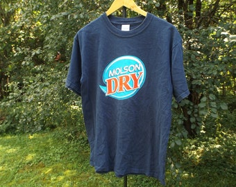 Molson Beer Tshirt, Beer Tee Molson Dry, Vintage Beer Shirt, 90s Tshirt, 90s Grunge, Vintage Molson Canadian, Dry T Shirt, Size Medium, 90s