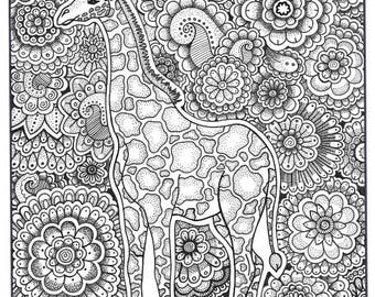 Giraffe Coloring Page Book Pages Printable Adult Hand Drawn Art