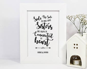Framed Personalised Sister Quote Print | Long Distance Quote Print | Sister | Sister Quote | Sister Moving Away Gift | Leaving Gift For Sis