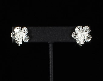 Large Hibiscus Stopper Stud Earrings in .925 Sterling Silver