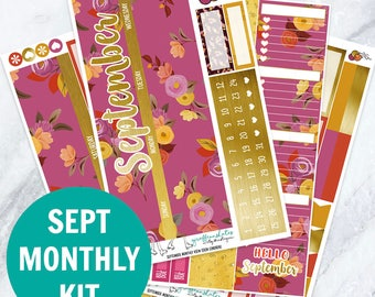 September 2017 Monthly View Sticker Kit (120 + Planner Stickers) (Stickers for Erin Condren Life Planner and MAMBI Happy Planner)