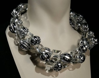 Big and bold necklace, statement choker, crystal glass bead, silver lucite. Wow factor