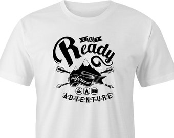 "Get ready for Adventure Print T-shirt, Adventure print T-shirt, ""Get ready for adventure"" print, ""Get ready for adventure"" T-Shirt"