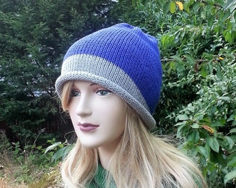 Blue and Gray Summer hat. Cotton Beanie. Handmade Boho Hat. Slouchy knitted Hat. Beach Hat. Vegan Friendly. Gift for her