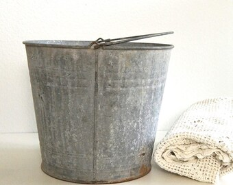 vintage galvanized bucket rustic farmhouse bucket country pail