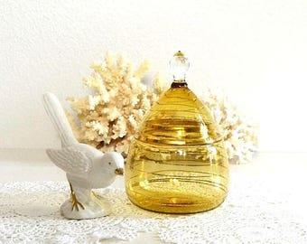 vintage brown gold lidded jar striped gold glass lidded jar