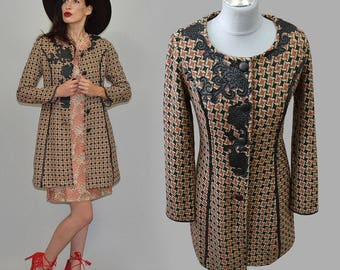 Vintage Checkered Bouclé Frock Coat Tails Faux Leather Flower Appliqué Piping Embroidery Twiggy 60s Mod Jacket Blazer Goth Baroque M/L