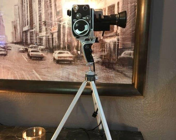 Film  camera lamp. Upcycled lamp. Vintage movie cameras