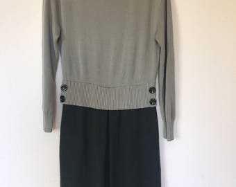 Vintage 90's MOSCHINO 100% Wool Green Colour Block Sweater Dress 8 10