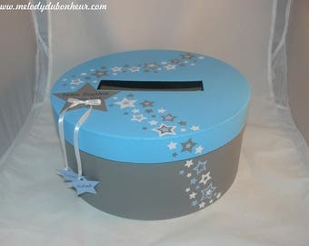 Urn round blue grey star baptism twin brother sister children