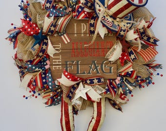 Rustic Fourth of July Wreath, Shabby Chic Fourth of July Wreath, Uncle Sam Wreath, Burlap USA Wreath, Country 4th of July Wreath, Top Hat